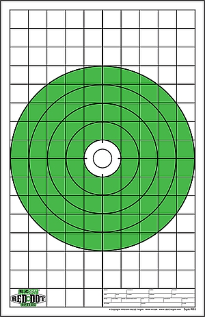 Red Dot Optics Style 5:  Bullseye with Grids Sight-in