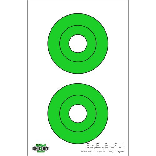 "Red Dot Optics Style 1: Two 6.5"" EZ2C Green Bullseyes"